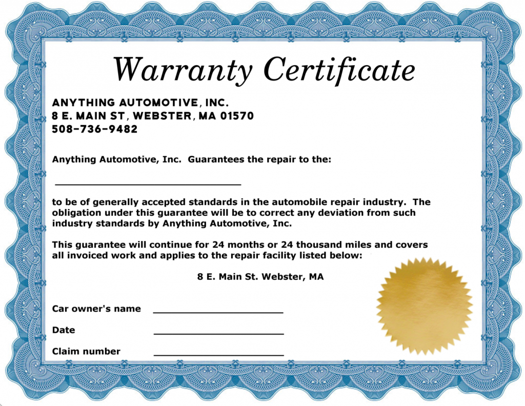 Anything Automotive 2 year warranty certificate